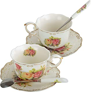 Porcelain Tea Cup and Saucer Set Coffee Cup with Saucer and Spoon, Set of 2
