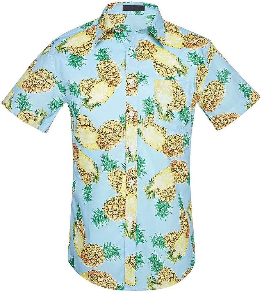 Wxian Men's Short Sleeve Hawaiian Casual Shirt with Pocket