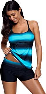 Women's Bikini and Boardshort │Strappy Hollow-Out Back Tankini Swimsuits for Women │Two Pieces Bathing Suits Sports Swimwear