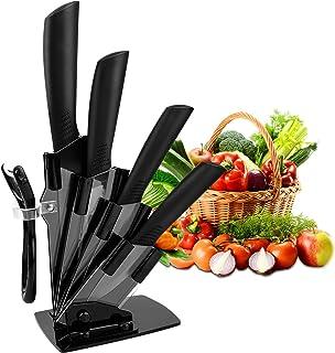 """Couteaux en céramique, CORESLUX Set 5 Ensembles de couteaux de cuisine ,(6""""Couteau Chef, 5""""Couteau Utilitaire, 4""""Couteau à..."""