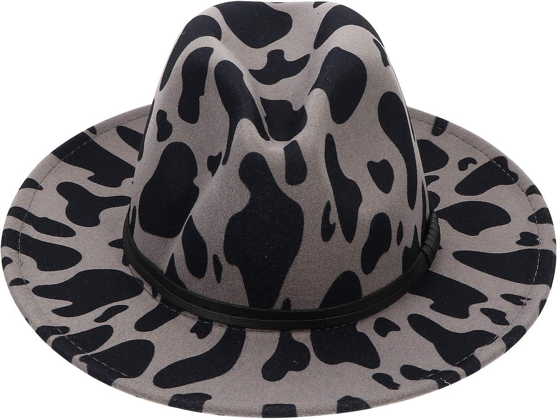 VALICLUD Wide Brim Fedora Hat Cow Print Wide Flat Brim Jazz Hat for Women Woolen Panama Hat Jazz Cap with Belt Cowboy Hat