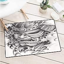 Wang Hai Chuan Kabuki Mask Decoration Commercial Grade Entrance mat Warrior Samurai Drawing Angry Expression Historical Figure Artwork Door mat Floor Decoration W31.5 x L47.2 Inch Black White
