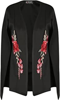 Be Jealous Bejealous Womens Double Layered Rose Embroidered Shawl Collared Placket Cape Top