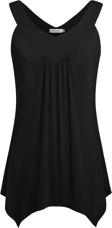 Helloacc Womens V Neck Sleeveless Handkerchief Hem Long Tank Casual Tunic Tops