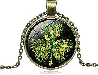 SZMXSS St. Patrick's Day Necklace Shamrock Three Leaf Clover Good Luck Charm Shamrock Necklace Jewelry Irish Celtic Access...