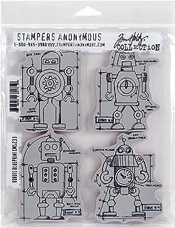"""طوابع Tim Holtz Cling StampStampamps 7""""X8.5""""-Robots Blueprint (عبوة من قطعة واحدة)"""