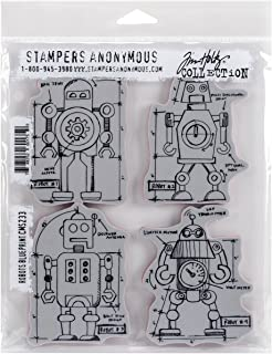 Stampers Anonymous Tim Holtz Cling Rubber Robots Blueprint Stamp Set, 7 x 8.5