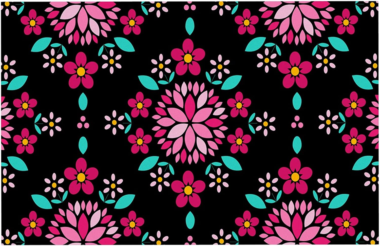 KESS InHouse AS1030ADM02 Anneline Sophia Dahlia Mandala Pink Black Dog Place Mat, 24 x15