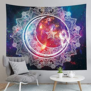 LOMOHOO Starry Night Sky Tapestry Moon and Sun Star Floral Bohemian Hippie Psychedelic Mandala Wall Hanging Tapestry Art for Bedroom Living Room Dorm Decor (Starry Night, L:148x200cm/58 x79)