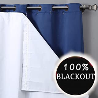 RHF Thermal Insulated Blackout Curtain Liner for 84 inch curtains-Blackout curtain liner,blackout curtain liner white,black out liner,darkening( Hooks Included) One Panel 47W by 77L Inches