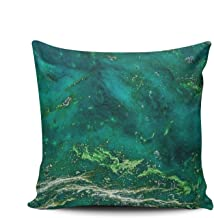 THUONY Pillowcase Home Decorative Hetian Jade Green Marble Arts 16X16 Inch Square Throw Pillow Case Cushion Covers Double Sides Printed (Set of 1)