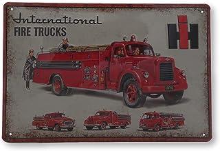 Mehr Relief Schilder hier... IHC Feuerwehr International LKW Traktor Landwirtschaft Blechschild Werbung Reklame Retro Marke Schild Magnet Metallschild Werbeschild Wandschild