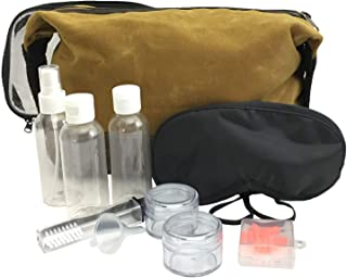 Extra Large Waxed Canvas Toiletry Bag for Men - Travel Toiletry Kit includes Clear TSA Approved 3-1-1 Travel Toiletry Bag with Containers and Travel Eye Mask for Sleeping with Ear Plugs Mustard