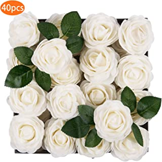 TOPHOUSE 40pcs Artificial Flowers Roses Real Touch Fake Roses for DIY Wedding Bouquets Bridal Shower Party Home Decorations (Ivory)