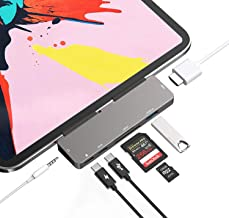 USB C HUB Adapter for iPad Pro 11/12.9 2018 2020,7 in 1 USB C Dongle with 3.5mm&Type-C Earphone Headphone Jack with Volume Control,4K HDMI,USB C PD Charging&Data,USB3.0,Micro SD Card Reader