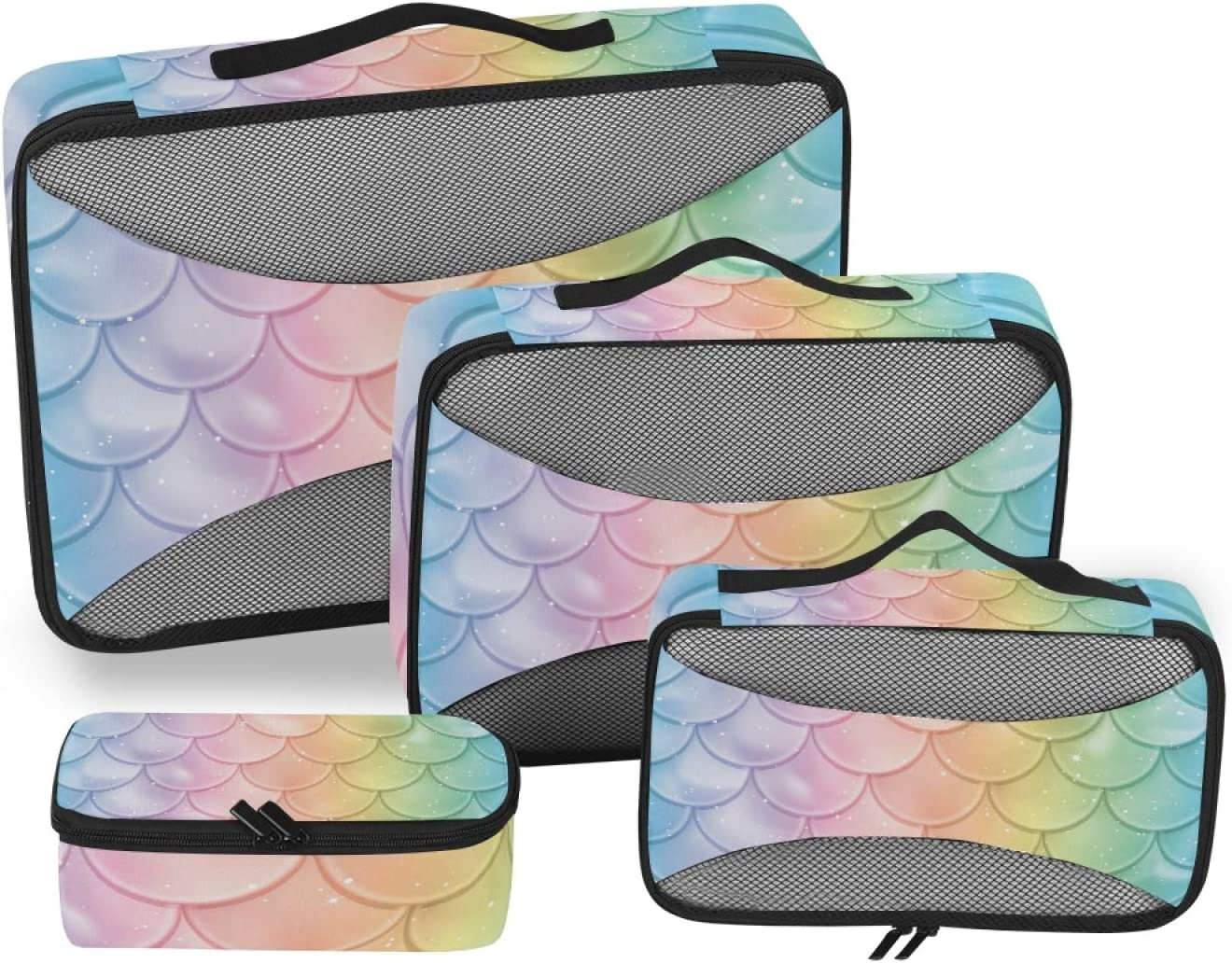 Mermaid Scale Packing Cubes 4-Pcs Travel Accessories S Special price for a limited time 100% quality warranty! Organizer