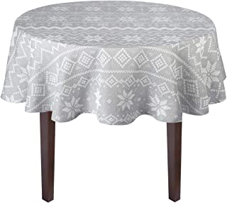 Nantucket Home Country Holiday Shimmer Gray Snowflake Winter Christmas Jacquard Cotton Fabric Tablecloth (60