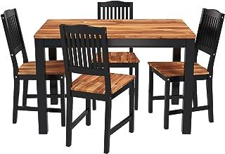 Interbuild - Juego de comedor de madera real Swoppmokk de 5 piezas (1 mesa con 4 sillas) FSC Acacia barnizado en negro