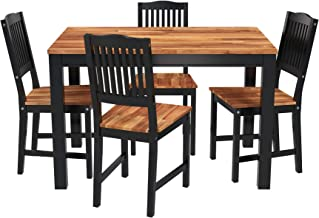 Interbuild Solid Wood Kitchen Dining Set, Dining Table with 4 Chairs Home Dining Room Furniture Set, FSC Acacia, Oiled (Bl...