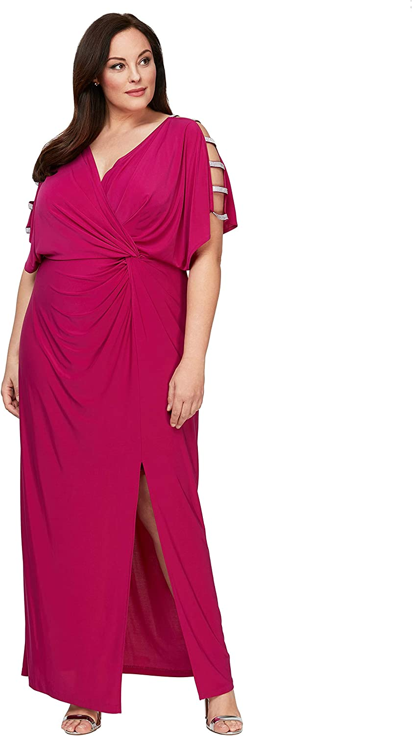 Alex Evenings Women's Plus Size Long Knot Dress with Embellished Short Sleeve