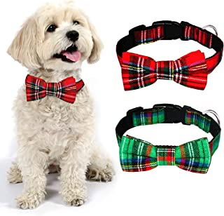 Malier Dog Collar with Bow tie Christmas Classic Plaid Dog Collar with Light Adjustable Buckle Suitable for Small Medium Large Dogs Cats Pets