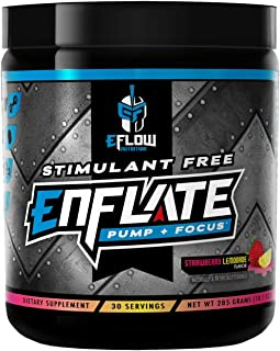 eFlow Nutrition Enflate Stimulant Free Preworkout Supplement - Pump and Focus Nootropic Pre Workout Powder to Boost Focus ...