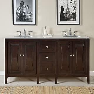Silkroad Exclusive FS-0269-WM-UWC-68 Countertop Marble Dual Sink Bathroom Vanity with Cabinet, 68