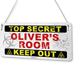 Top Secret Keep Out Personalised Childs Bedroom Door Sign Name Plaque