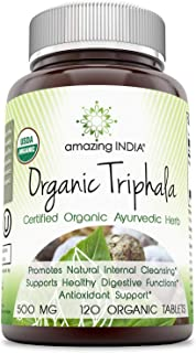 Amazing India USDA Certified Organic Triphala (3 Fruits)– 500 mg 120 Organic Tablets (Non-GMO) Raw, Vegan- Gluten-Free, Plant-Based Nutrition – Supports Cell Regeneration, Detoxification, Overall