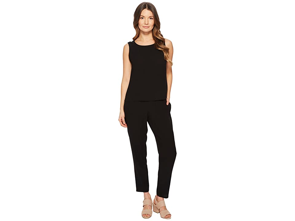 Eileen Fisher Slouchy Ankle Pants (Black Silk Georgette Crepe) Women