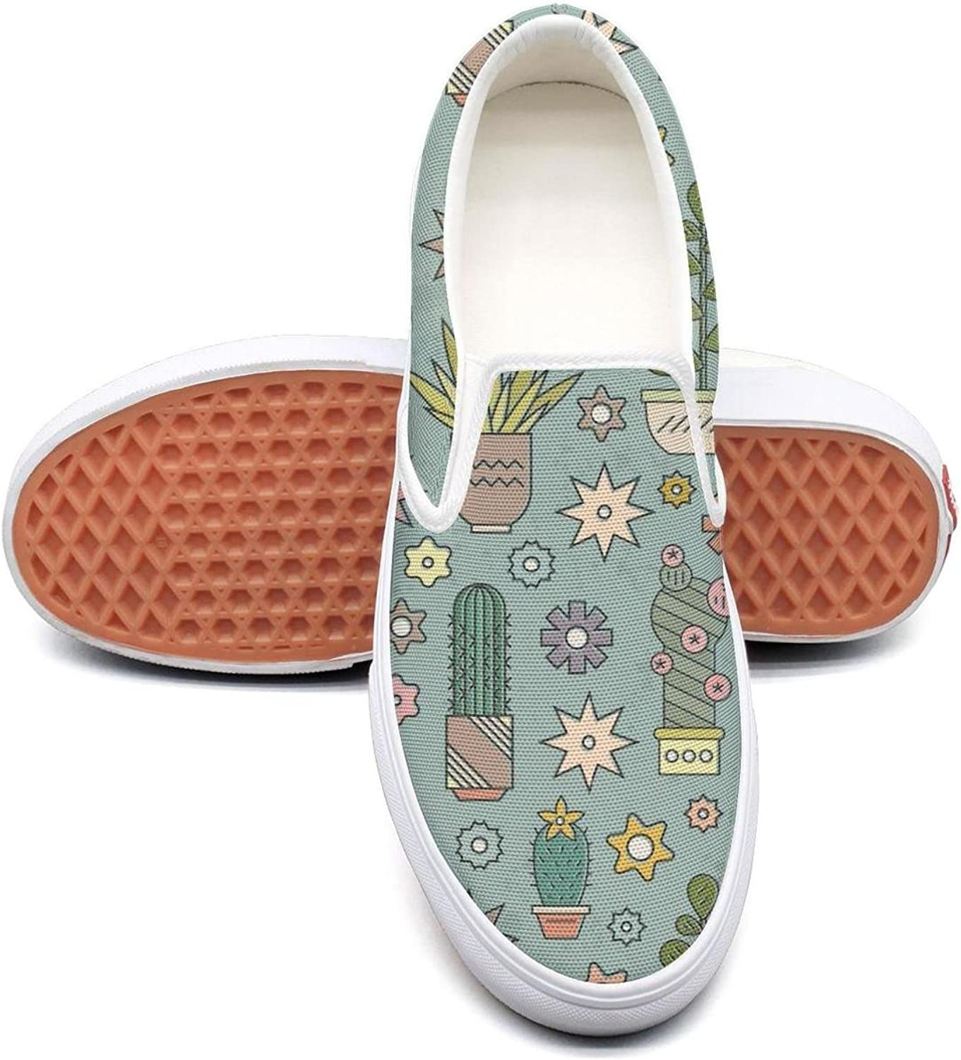 Art Cactus Painting Slip on Superior Comfort Loafers Canvas shoes for Women Round Toe
