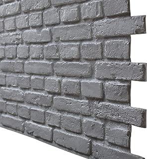 3D Brick Panels for Interior and Exterior DIY Wall Decoration Rustic Brick Design, Faux Brick Panels Brick Design Pack of 4 Tiles (Compositive) (Vintage, White Matt)