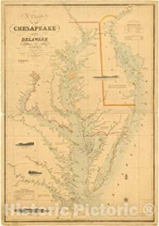Historic Pictoric Map : Chesapeake and Delaware Bays, Maryland and Virginia 1859, A Chart of The Chesapeake and Delaware Bays, Antique Vintage Reproduction : 44in x 63in