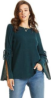 SONJA BETRO Women's Rib Knit Split Bell Sleeve Tunic Plus Size