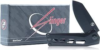 StatGear Slinger Quick-Deploy Pocket Knife - Compact Flipper EDC D2 Steel Blade Stainless Steel Handle Frame-Lock Ball-Bearing Deployment