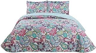 vivinna home textile Bedding Quilts Set Decoration Printed Bedspread King Size 106x96 Colorful Paisley