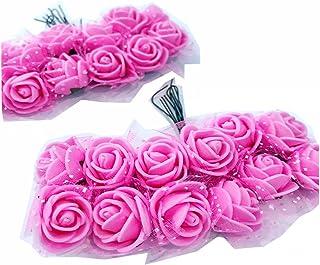 Cotigo -96 Piezas Artificiales Rosa Flor de Goma eva Novia Decoración, Boda Fiesta Favor, Hogar y Jardín Decoración, Artesanía, Bricolaje,Color Rosa