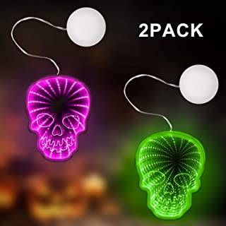 GoodLights Halloween Decorations lights 2Pack, Skull Shaped Night Lights with Suction Cup, Window Hanging Lights for Indoor Halloween Decorations, Party Lights(Purple+ Green)