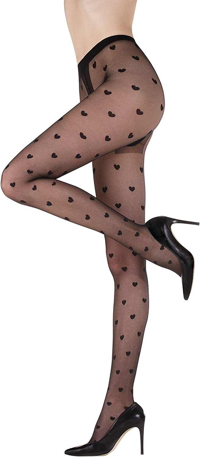 Womens Sheer Black Patterned Pantyhose Stockings FUNNY 08 by Gatta {Made in Europe} HEART TIGHTS