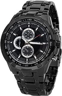 Fanmis Black Stainless Steel Luxury Sport Watches Mens Analog Quartz Wrist Watch