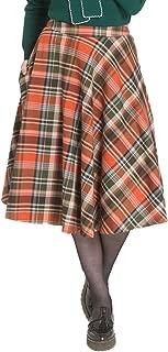Hell Bunny Women's Oktober Plaid 1950's Style High Waist Swing Skirt