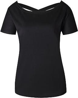 7TECH Back Cross Stylish Short Sleeve Tee, Black