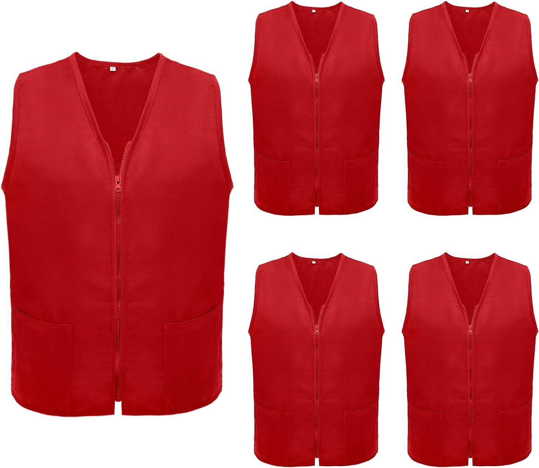 TOPTIE 5 Pack Volunteer Vest Waiter Bartender Work Uniform, Supermarket Clerk Workwear
