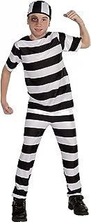 Forum Novelties Striped Convict Costume, Child Large