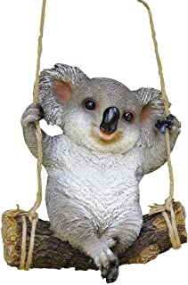 Garden Statue Ornaments 9.2 Inches Polyresin Cute Swing Koala Bear Indoor Outdoor Sculpture Ornaments Décor Yard Art Figurines for Patio Lawn House