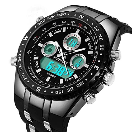 81deb45e67c Mens Digital Sports Watch Military Waterproof Analogue Watch Stopwatch Army  Shock Resistant LED Backlight Casual Wrist