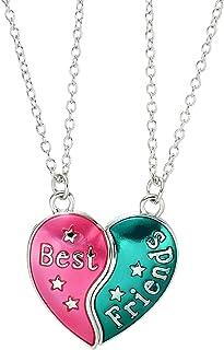 Fsmiling 2 Pack Best Friends Colorful Pendant Friendship Necklace Set Kid Girls