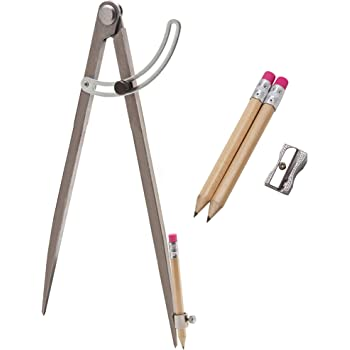 ALLY Tools Professional 12 inch Locking Wing Divider Pencil Holder/Compass Scribe INCLUDES Two Pencils and Metal Pencil Sharpener Ideal for Drawing Circles, Woodworking, Metalworking, and Leather Work