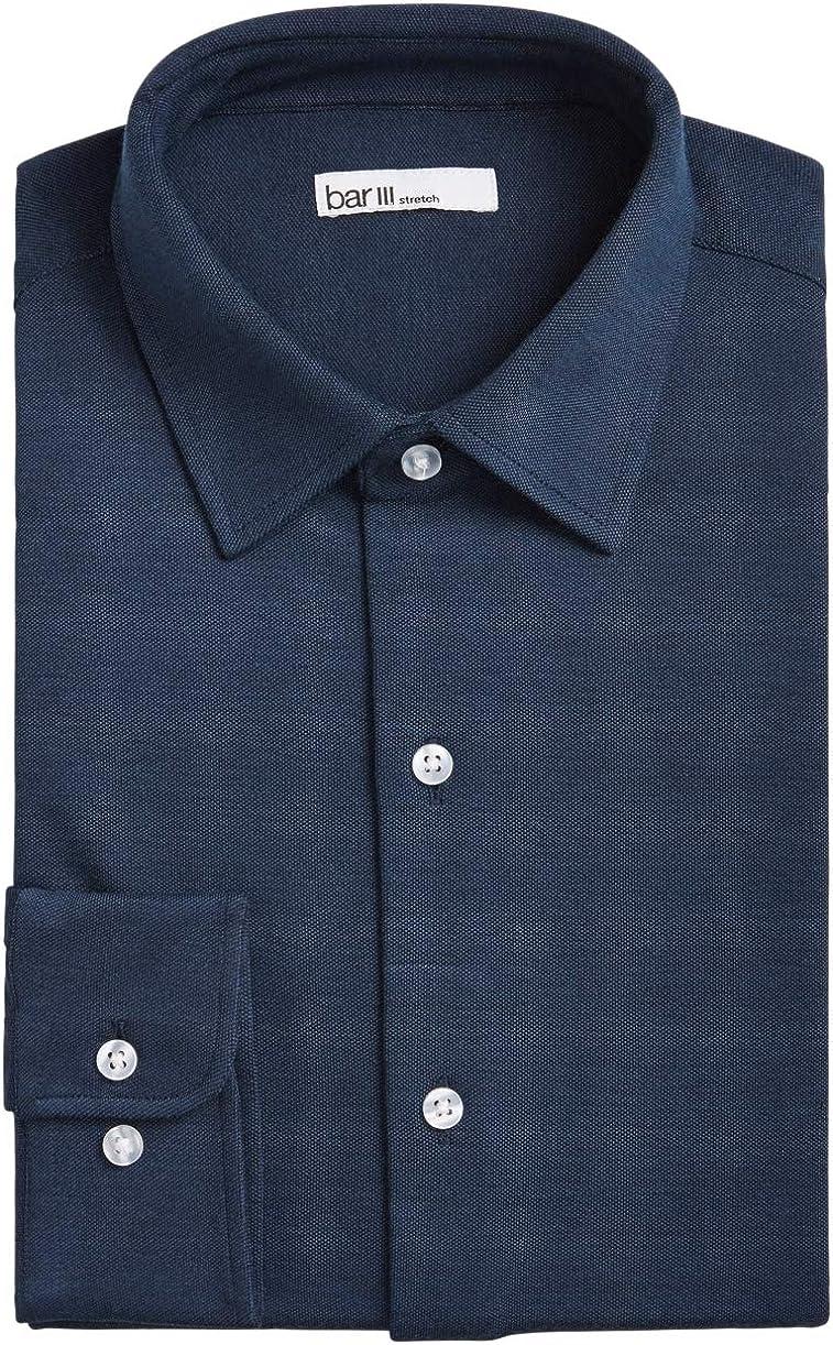 Bar III Mens Dress Shirt Navy Long Sleeve Slim Fit Stretch Blue XL