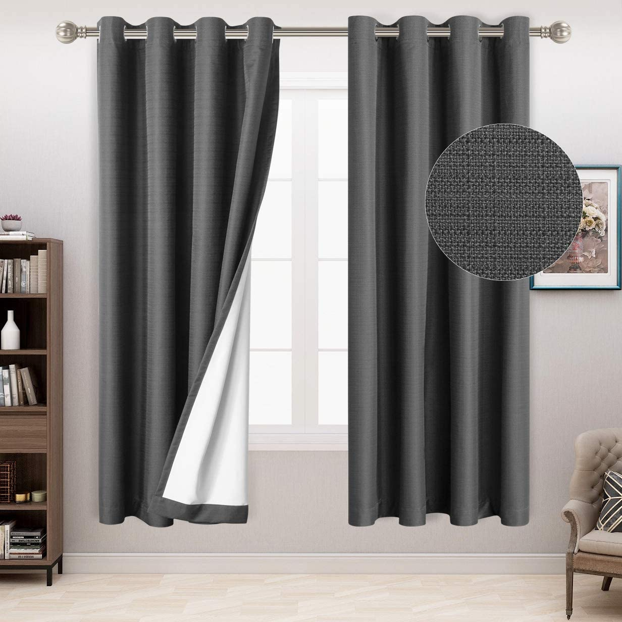 San Diego Mall LORDTEX 100% Blackout Curtains for Linen Bedroom Textured - OFFer Faux